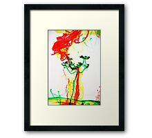 Green Flower on Planet Mars- Ink in Water Framed Print