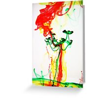 Green Flower on Planet Mars- Ink in Water Greeting Card