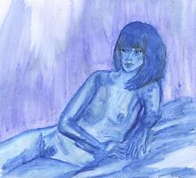 Nude Blue Watercolour by Kyleacharisse