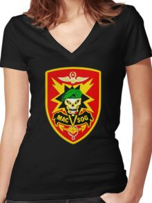Macv-Sog Patch Women's Fitted V-Neck T-Shirt