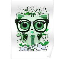 Nice Kitty - White & Green Poster