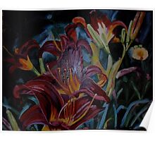 Red Lillies from Nantucket Poster
