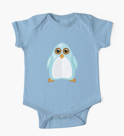 Baby Blue Penguin One Piece - Short Sleeve