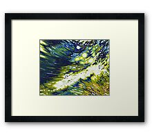 Splashing Wave Reflections Navy Yellow White Margaret Juul Framed Print