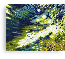 Splashing Wave Reflections Navy Yellow White Margaret Juul Canvas Print