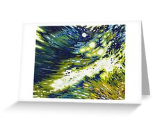 Splashing Wave Reflections Navy Yellow White Margaret Juul Greeting Card