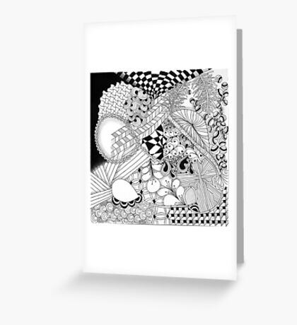 Traditional Zentangle Abstract Art on Canvas Greeting Card