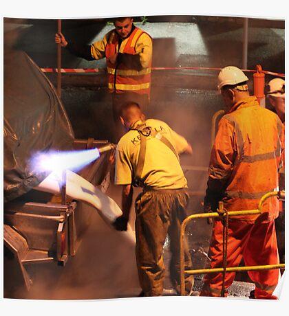 blue flame, orange safety vest Poster