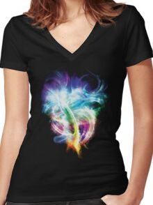 Colourful fire Women's Fitted V-Neck T-Shirt