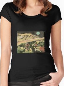 Aqua Moon Over Saddle Butte Women's Fitted Scoop T-Shirt