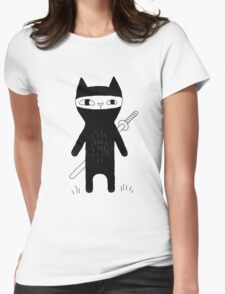 Ninja Cat Womens Fitted T-Shirt