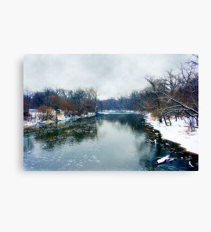 Des Plaines Rive in Winter, Riverside, Illinois Canvas Print