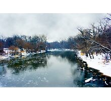 Des Plaines Rive in Winter, Riverside, Illinois Photographic Print
