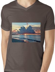 Caribbean Turks and Caicos Grace Bay Sunset Mens V-Neck T-Shirt