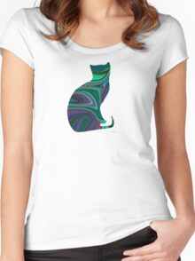 Sitting Textured Cat Women's Fitted Scoop T-Shirt