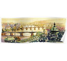 Panorama Prague Briges Poster