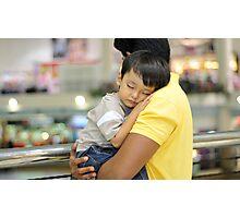 Sleeping child in hug on shoulder Photographic Print