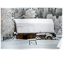 The Barn,The Tractor,The Trees and The Snow Poster
