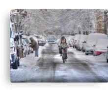biker snow Canvas Print