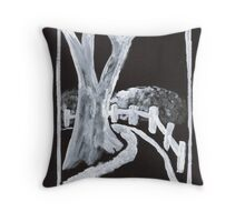 Country Lane in Black and White Throw Pillow