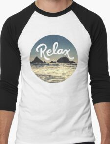 Relax Hipster Beach Typography Tumblr Boho Photo Men's Baseball ¾ T-Shirt