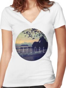 Explore Costa Rican Beach Ocean Tumblr Pastel Quote Print Women's Fitted V-Neck T-Shirt