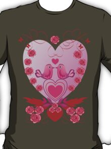 Roses, Hearts and Love birds T-Shirt