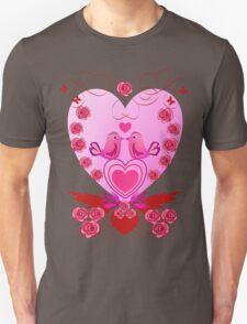Roses, Hearts and Love birds Unisex T-Shirt