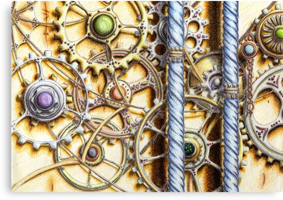Cogs #4 - coloured pencil by HolyOther