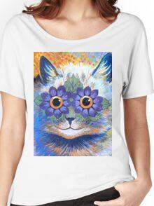 Flower Power Cat T Shirt Women's Relaxed Fit T-Shirt