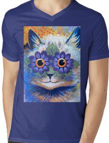 Flower Power Cat T Shirt Mens V-Neck T-Shirt