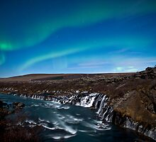 Northern lights - aurora borealis - Iceland - Waterfall by ArnarBergur