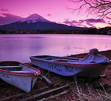 Winter Sunset on Mount Fuji by S T