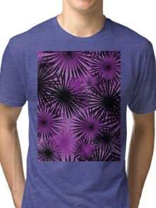 black and purple firecracker floral Tri-blend T-Shirt
