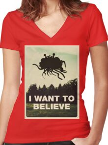 Flying Spaghetti Believing Women's Fitted V-Neck T-Shirt
