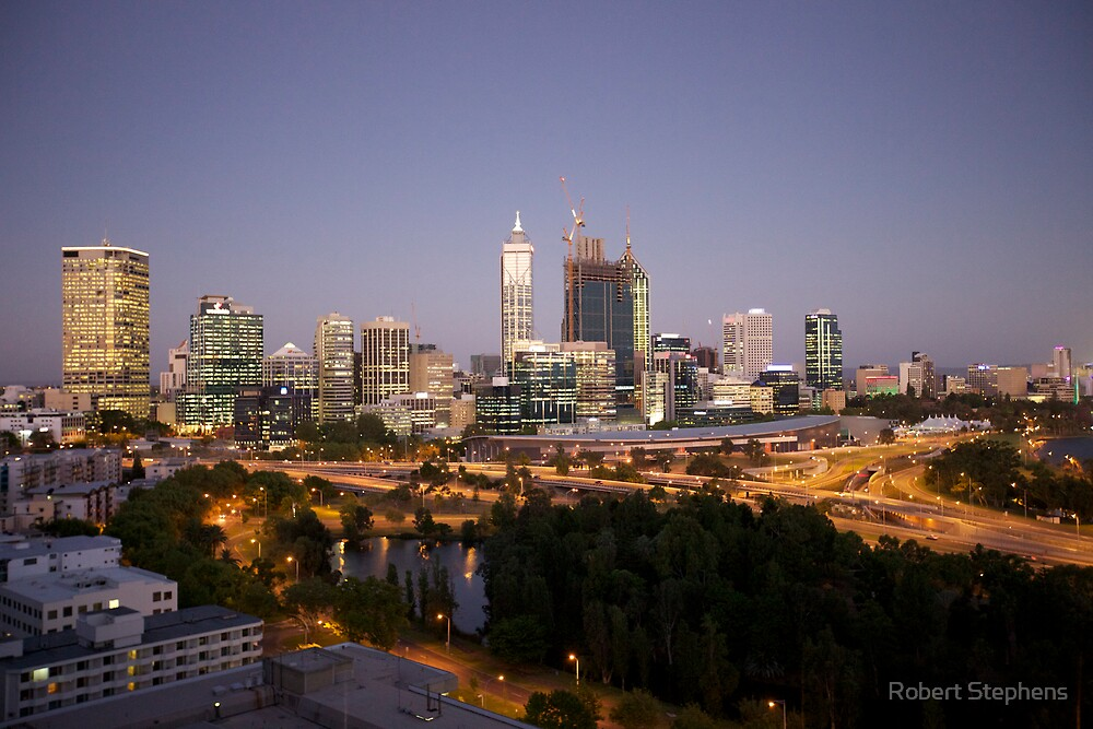 Perth Skyline at Dusk from King's Park by Robert Stephens