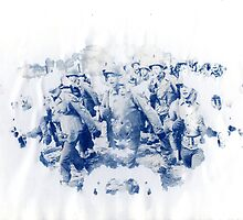rorschach, soldiers - cyanotype print by iannarinoimages
