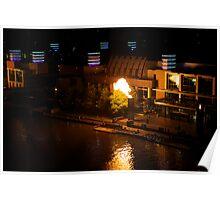 Melbourne Evening River Light Show Poster