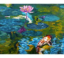 Tranquil Koi Lily Pond Photographic Print