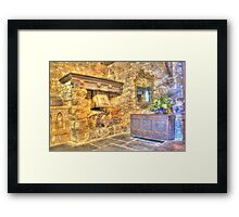 old fire place, pretty mirror Framed Print