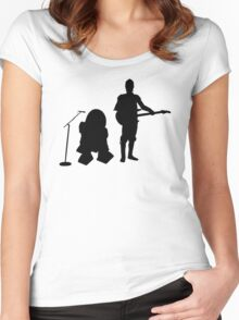 R2D2 C3PO Rock Band Women's Fitted Scoop T-Shirt