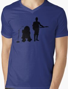 R2D2 C3PO Rock Band Mens V-Neck T-Shirt