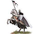 Templar on Rearing Horse (digitally coloured) by dashinvaine
