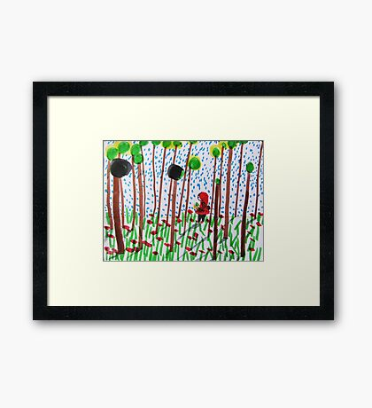 She walked in the woods Framed Print