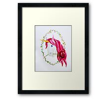 Pink Mane Unicorn with Rose Framed Print