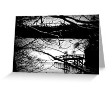 Snowy Morning and Dock Black and White Greeting Card