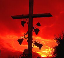 I am the Vine You are the branches Cross at Sunset by Rick Short