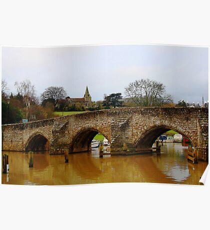 East Farleigh Bridge and Church Poster
