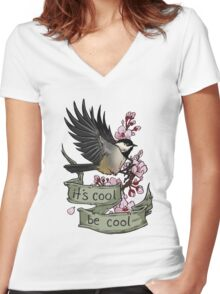 It's Cool; Be Cool Women's Fitted V-Neck T-Shirt