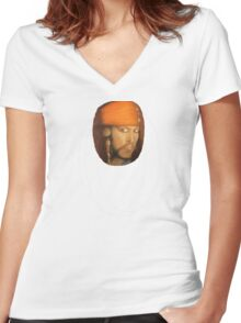 Captain Jack Sparrow - small version Women's Fitted V-Neck T-Shirt